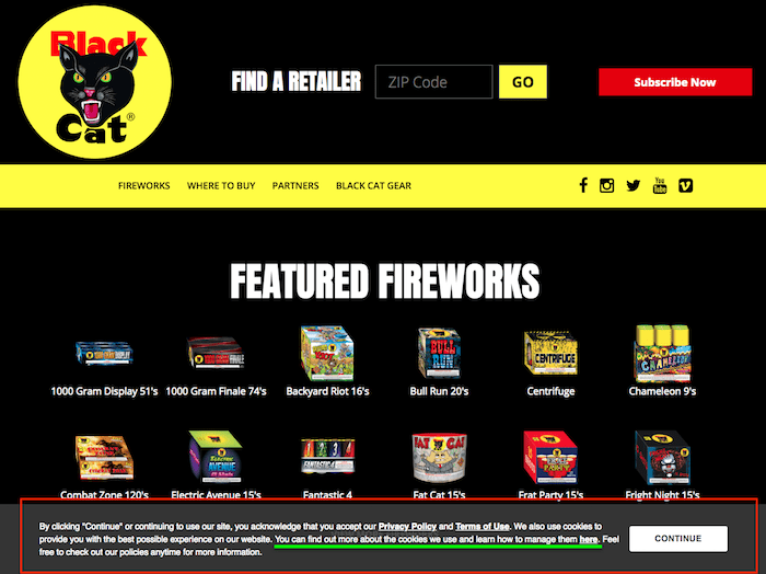 Example of a cookie consent banner for the Black Cat Fireworks website