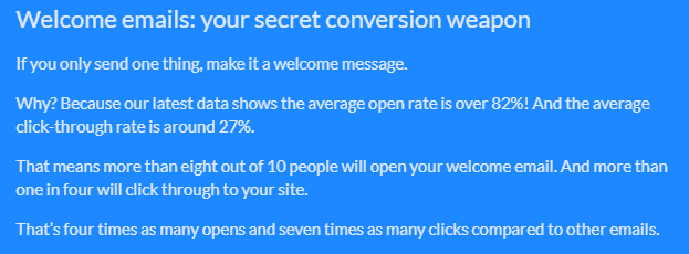 welcome email stats from GetResponse
